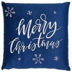 Poduszka świąteczna MERRY CHRISTMAS niebieska 45 x 45 cm INSPIRE