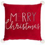 Poduszka świąteczna MERRY CHRISTMAS czerwona 45 x 45 cm INSPIRE