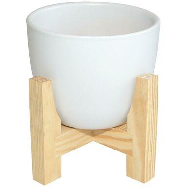 Osłonka ceramiczna 16 cm biała na stojaku drewnianym
