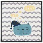 Dywan dziecięcy SLEEPY kremowo-niebieski kwadratowy 120 x 120 cm AGNELLA