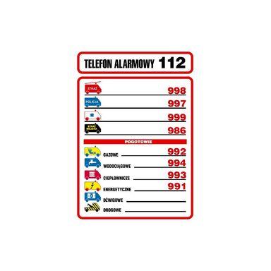 Znak informacyjny TELEFONY ALARMOWE wys. 21 cm
