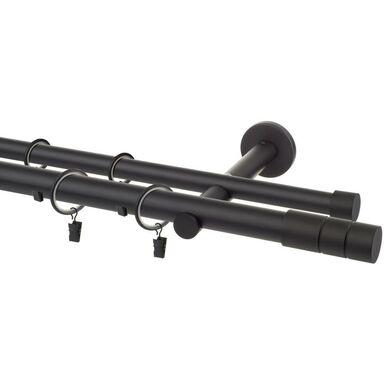 Karnisz Cylinder 240 cm podwójny czarny mat 25 mm Inspire