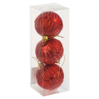 Bombki plastikowe 8 cm 3 szt. czerwone