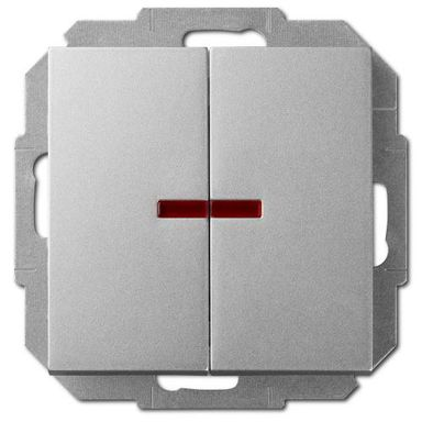 Włącznik podwójny z podświetleniem SENTIA  srebrny  ELEKTRO - PLAST