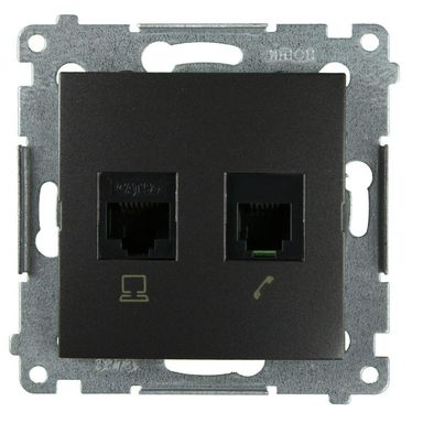 Gniazdo telefoniczno - komputerowe RJ12/RJ45 SIMON54  Stalowoszary  KONTAKT SIMON