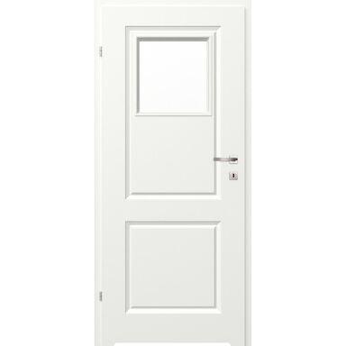 Skrzydło drzwiowe łazienkowe z szybą z podcięciem wentylacyjnym Morano II Białe 90 Lewe Classen