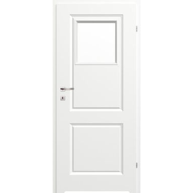 Skrzydło drzwiowe łazienkowe z szybą z podcięciem wentylacyjnym Morano II Białe 90 Prawe Classen