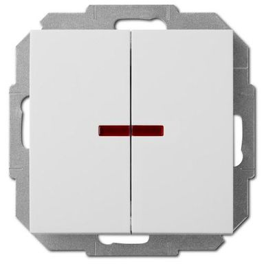 Włącznik podwójny Z PODŚWIETLENIEM SENTIA  Biały  ELEKTRO-PLAST