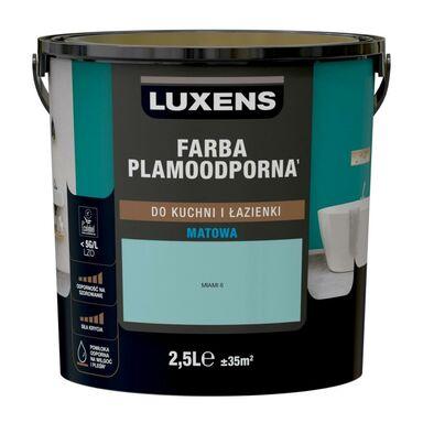 Farba wewnętrzna PLAMOODPORNA do kuchni i łazienki 2.5 l Miami 6 LUXENS