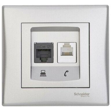 Gniazdo telefoniczno - komputerowe SEDNA  aluminium  SCHNEIDER ELECTRIC
