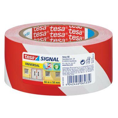 Taśma sygnalizacyjna 66 m x 50 mm SIGNAL czerwono-biała TESA