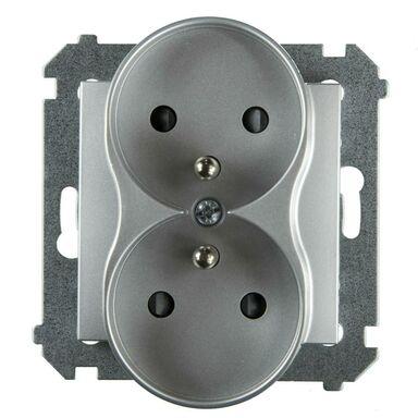 Gniazdo podwójne 2 x 2P + Z SIMON 54  srebrny  SIMON