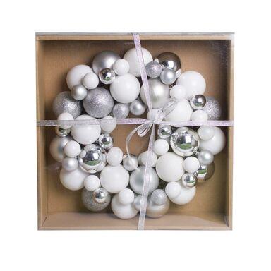Wianek bożonarodzeniowy 30 cm z bombek srebrno-białych