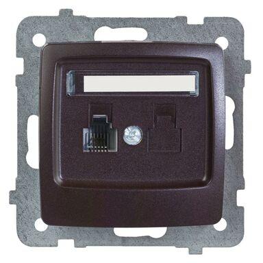 Gniazdo telefoniczne pojedyncze KARO  czekoladowy metalik  OSPEL