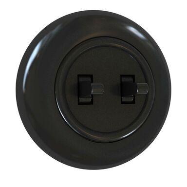 Włącznik podwójny LF0021B LOFT czarny DPM