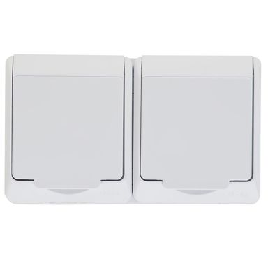 Gniazdo podwójne 2x2P+Z HERMES  Biały  ELEKTRO - PLAST