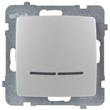 Włącznik pojedynczy Z PODŚWIETLENIEM KARO Srebrny OSPEL