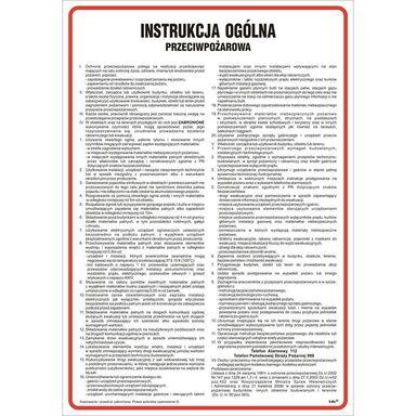 Znak informacyjny INSTRUKCJA PRZECIWPOŻAROWA wys. 35 cm