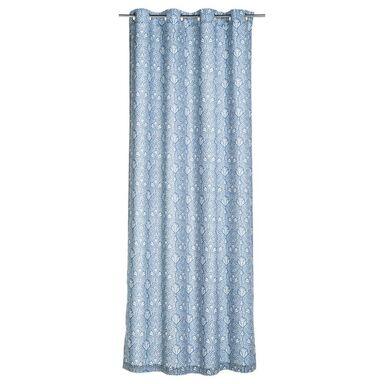 Zasłona VASCO niebieska 140 x 250 cm na przelotkach INSPIRE
