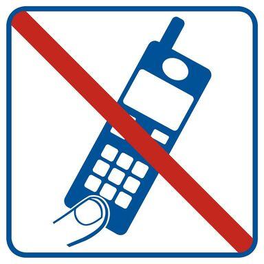 Znak informacyjny ZAKAZ UŻYWANIA TELEFONÓW KOMÓRKOWYCH 14.8 x 14.8 cm