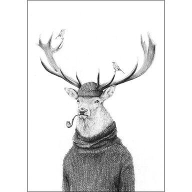 Obraz na metalu JELEŃ Z FAJKĄ 32 x 45 cm