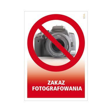 Znak informacyjny ZAKAZ FOTOGRAFOWANIA 21 x 14.8 cm