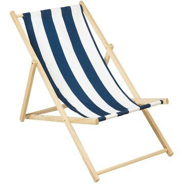 Leżak plażowy drewniany biało-niebieski