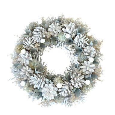 Wianek świąteczny 30 cm z białymi szyszkami