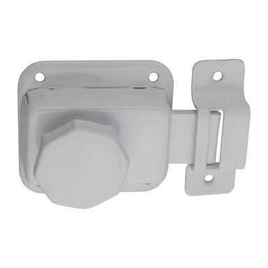 Zasuwka łazienkowa z gałką 54 x 56 mm biała STAHL