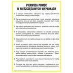 Znak informacyjny INSTRUKCJA POMOCY W RAZIE NIESZCZĘŚLIWEGO WYPADKU 24.5 x 35 cm