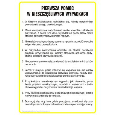 Znak informacyjny INSTRUKCJA POMOCY W RAZIE NIESZCZĘŚLIWEGO WYPADKU wys. 35 cm