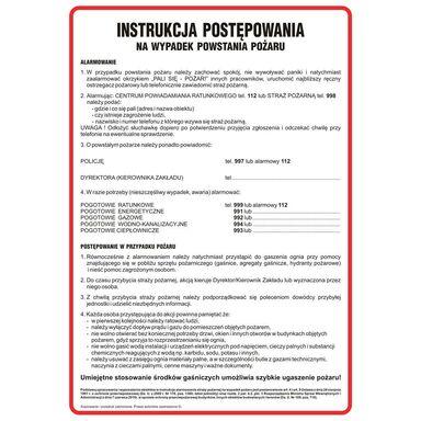 Znak informacyjny INSTRUKCJA POSTĘPOWANIA PODCZAS POŻARU wys. 35 cm