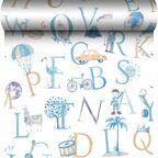 Tapeta dla dzieci ABC niebieska winylowa na flizelinie