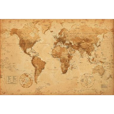 Plakat WORLD MAP - ANTIQUE STYLE 91.5 x 61 cm