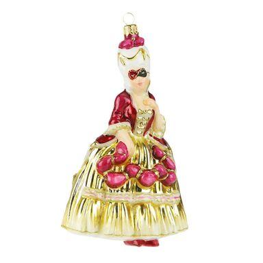 Bombka szklana 16.5 cm dama ręcznie malowana PREMIUM