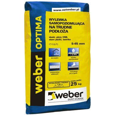 Wylewka betonowa SAMOPOZIOMUJĄCA OPTIMA TRUDNE PODŁOŻA 25kg 5 - 45 mm WEBER