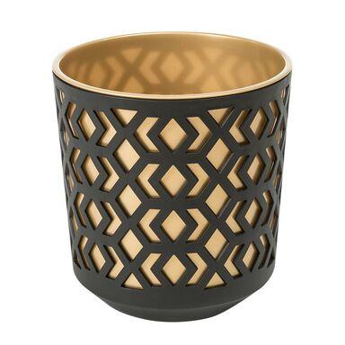 Doniczka plastikowa 25.5 cm czarno-złota AZTEK