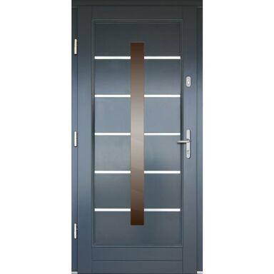 Drzwi zewnętrzne drewniane przeszklone LM5 antracyt 90 lewe Lupol