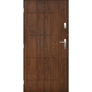 Drzwi zewnętrzne stalowe Panama orzech 80 lewe Pantor
