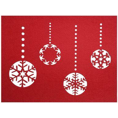 Podkładka świąteczna z filcu BOMBKA 40 x 30 cm czerwona