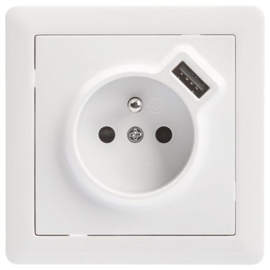 Gniazdo pojedyncze SLIM Z USB Biały  LEXMAN