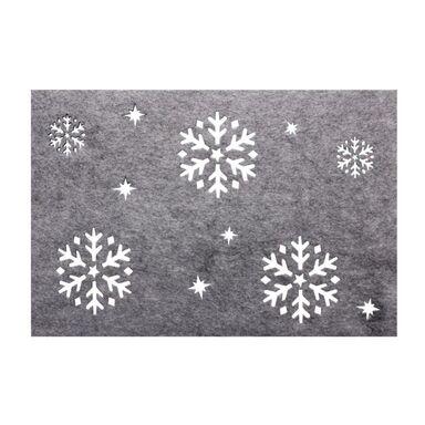 Podkładka świąteczna z filcu Śnieg 40 x 30 cm szara