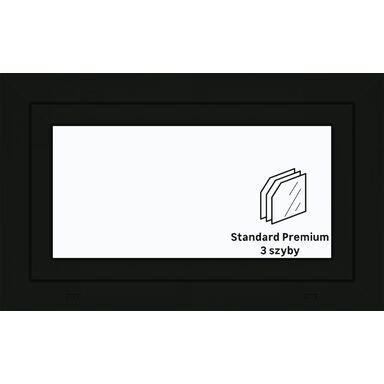 Okno PCV 3-szybowe O2 Antracyt 865 x 535 mm