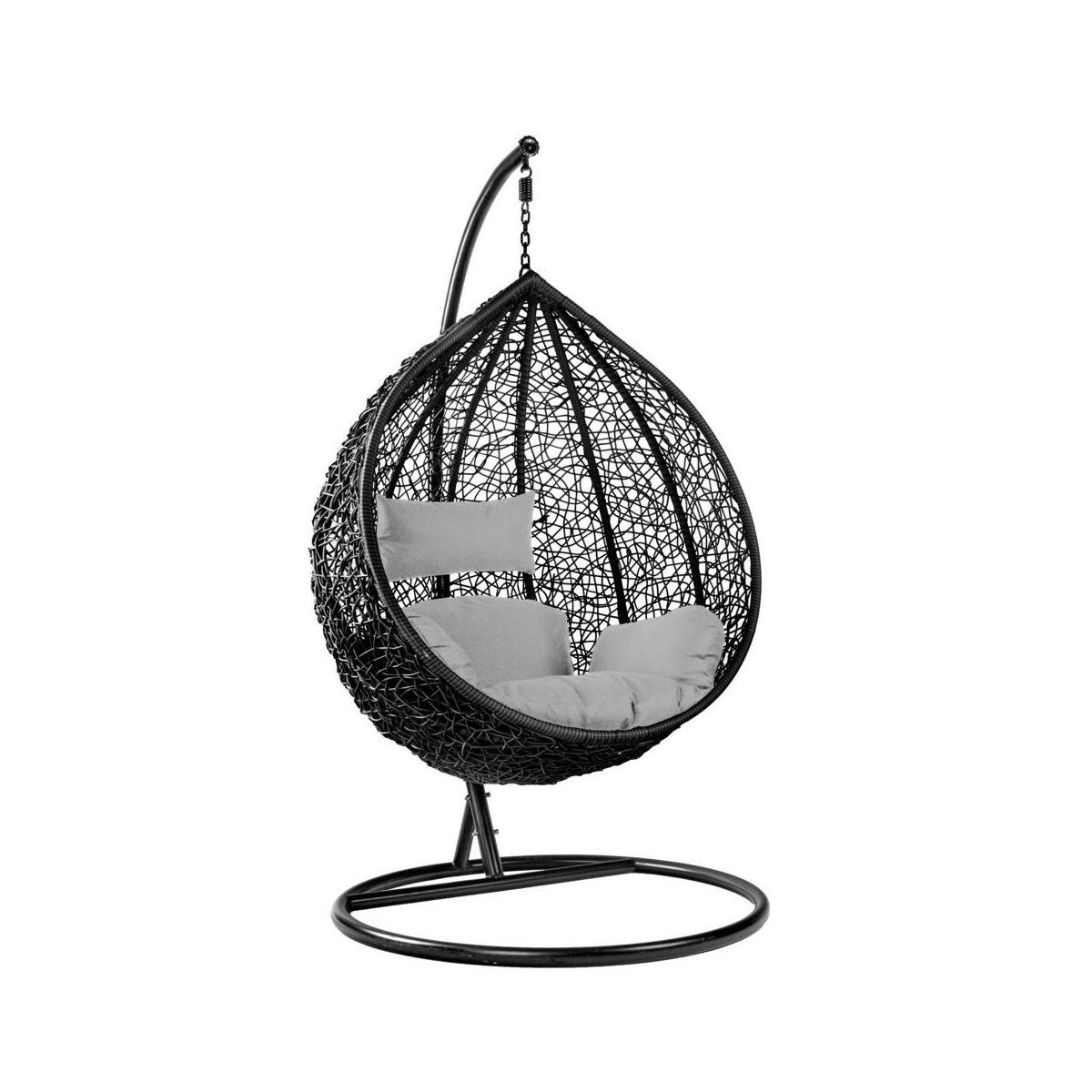 Fotel wiszący / huśtawka SANTA CRUZ czarno-szary