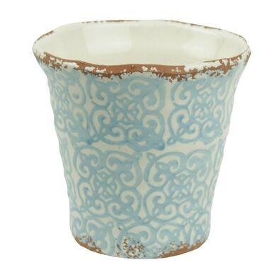 Osłonka gliniana 14.5 cm biało-niebieska 985285 KAEMINGK