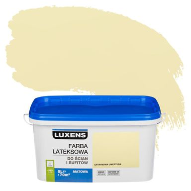 Farba wewnętrzna do ścian i sufitów EMULSJA 5 l Cytrynowa uwertura LUXENS