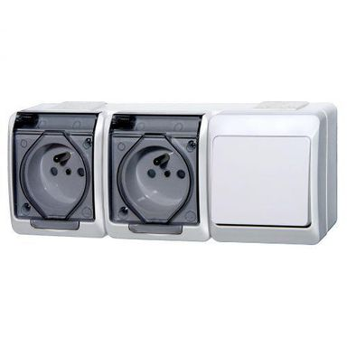 Gniazdo podwójne 2x2P+Z + włącznik schodowy 2x2P+Z HERMES  Biały  ELEKTRO - PLAST