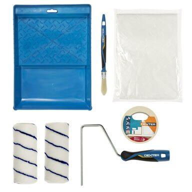 Zestaw malarski do ścian gładkich 6 części (wałek, rączka, kuweta, folia, pędzel, taśma) GLOBALL