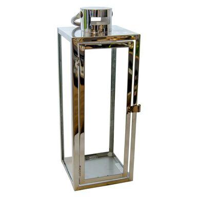 Latarenka na świeczkę BARCELONA wys. 39 cm srebrna