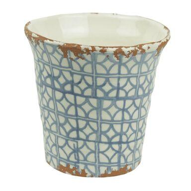 Osłonka ceramiczna 14.5 x 14.5 cm biało-niebieska 985284 KAEMINGK